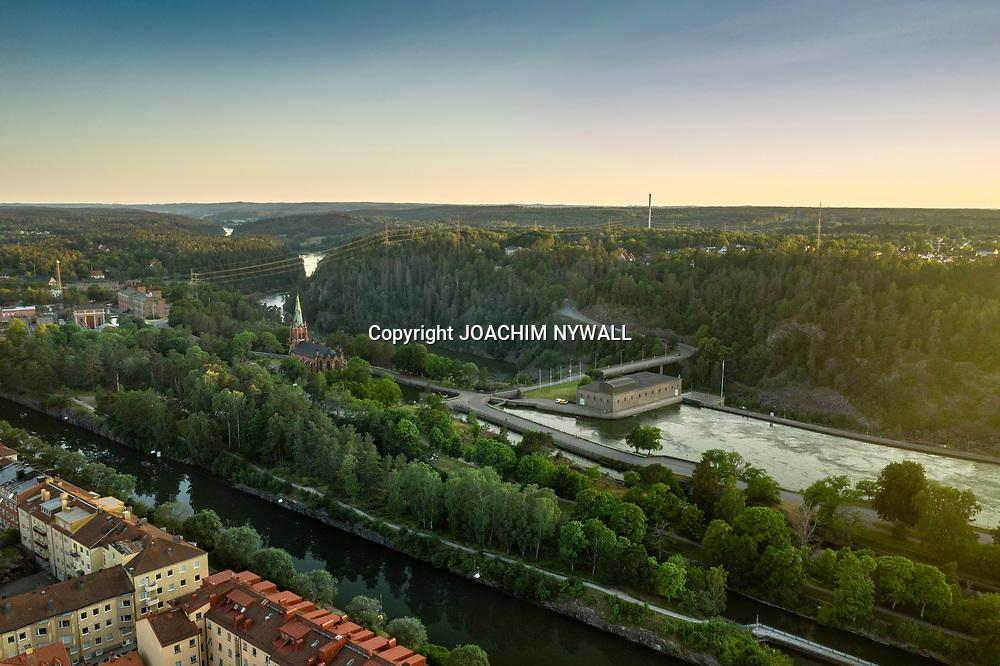 2020 06 28 Trollhättan<br /> Trollhättan sommarkväll centrum<br /> Fallfåran<br /> Drönare<br /> <br /> <br /> FOTO JOACHIM NYWALL KOD0708840825<br /> COPYRIGHT JOACHIMNYWALL:SE<br /> <br /> ****BETALBILD****<br />  <br /> Redovisas till: Joachim Nywall<br /> Strandgatan 30<br /> 461 31 Trollhättan<br />  Prislista: BLF, om ej annat avtalats
