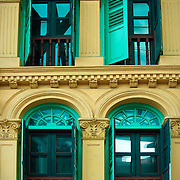 Colourful windows commonly seen in Singapore colonial architecture