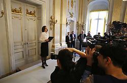 Die Vorsitzende des Auswahlgremiums Sara Danius verkündet die Entscheidung der Schwedischen Akademie<br /> <br /> / 131016<br /> <br /> *** Nobel Prize in Literature winner announced at Börshuset in Stockholm, Sweden; October 13th, 2016 ***