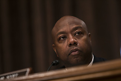 October 3, 2017 - Washington, District Of Columbia, USA - Senator TIM SCOTT TIMOTHY (R-SC) looks on as  Timothy Sloan, President and Chief Executive Officer of Wells Fargo, testifies before United States Senate Banking Committee. (Credit Image: © Alex Edelman via ZUMA Wire)