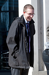 © London News Pictures. 26/03/2012. Kingston-upon-Thames, UK. ALFIE MEADOWS outside Kingston Crown Court on March 26, 2012 where he is accused of violent disorder during the student tuition fees protests in central London on 9 December 2011. ALFIE MEADOWS had brain surgery after allegedly being hit by a police truncheon at the protest. Photo credit: LNP