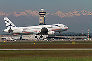 Aegean Airlines Airbus A320-232 SX-DGK comming into land at Malpensa (MXP / LIMC), Milan, Italy