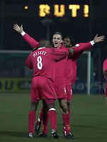 Photo. Richard Lane. <br />A.J. Auxerre v Liverpool. UEFA Cup. 20/02/2003<br />Sami Hyypia celebrates his goal
