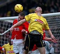 Fotball<br /> England 2004/2005<br /> Foto: SBI/Digitalsport<br /> NORWAY ONLY<br /> <br /> Watford v Rotheham United<br /> Coca-Cola Championship. 20/11/2004<br /> <br /> Martin Butler (Rotherham) deflects Watford's corner.