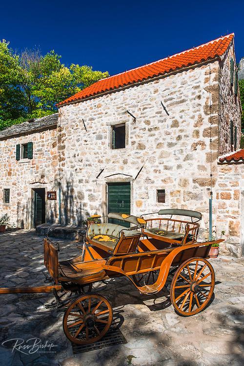 Historic fort and wagon at Roski Slap, Krka National Park, Dalmatia, Croatia