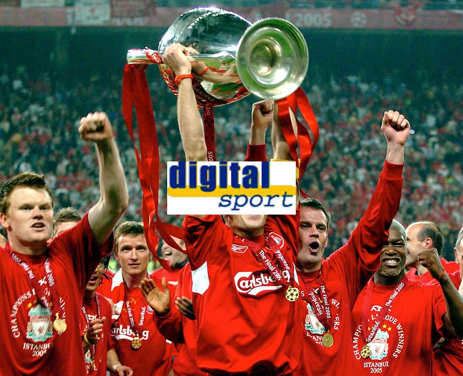 Fotball<br /> UEFA Champions League 2004/2005<br /> Finale<br /> Foto: Gepa/Digitalsport<br /> NORWAY ONLY<br /> <br /> 25.05.2005<br /> Milan v Liverpool<br /> <br /> John Arne Riise, Steven Gerrard, Dietmar Hamann, Djibril Cisse (Liverpool)<br /> <br /> Ataturk Olympic Stadium in Istanbul