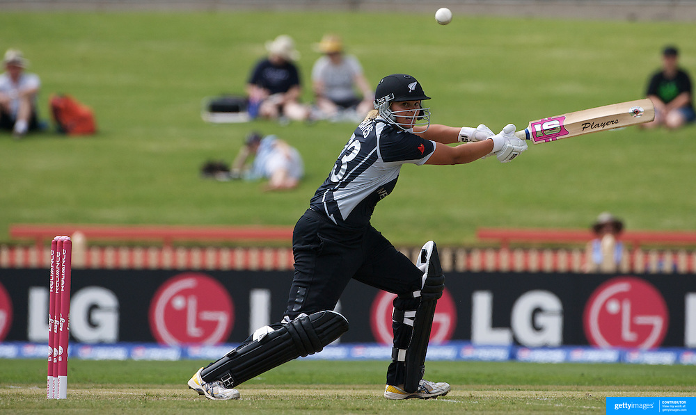 New Zealand batsperson Suzie Bates in action during the Australia V New Zealand group A match at North Sydney Oval in the ICC Women's World Cup Cricket Tournament, in Sydney, Australia on March 8, 2009. New Zealand beat Australia by 13 runs in the (D/L method)  rain affected match. Photo Tim Clayton
