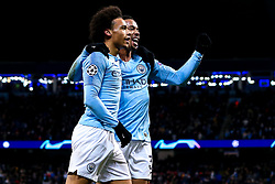 Leroy Sane of Manchester City celebrates with Gabriel Jesus after scoring a goal to make it 1-1 - Mandatory by-line: Robbie Stephenson/JMP - 12/12/2018 - FOOTBALL - Etihad Stadium - Manchester, England - Manchester City v Hoffenheim - UEFA Champions League Group stage