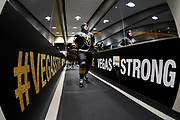 LAS VEGAS, NV - OCTOBER 24: The Vegas Golden Knights make their way to the ice prior to the game against the Chicago Blackhawks at T-Mobile Arena on October 24, 2017 in Las Vegas, Nevada. (Photo by Jeff Bottari/NHLI via Getty Images) *** Local Caption ***