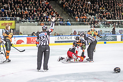 10.03.2019, Merkur Eisstadion, Graz, AUT, EBEL, Moser Medical Graz 99ers vs HCB Suedtirol Alperia, Platzierungsrunde, 54. Runde, im Bild v.l.: Peter Robin Weihager (Moser Medical Graz 99ers), Kevin Moderer (Moser Medical Graz 99ers), Daniel Frank (HCB Südtirol Alperia) // during the Erste Bank Eishockey League 54th round match between Moser Medical Graz 99ers and HCB Suedtirol Alperia at the Merkur Eisstadion in Graz, Austria on 2019/03/10. EXPA Pictures © 2019, PhotoCredit: EXPA/ Dominik Angerer