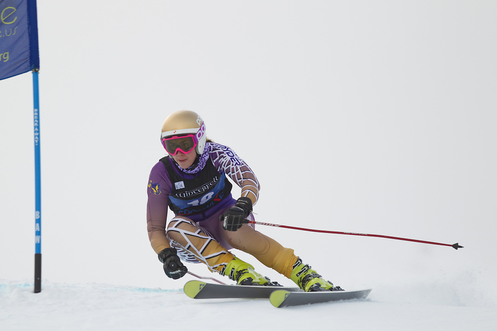 Shannon Campbell of Williams College, skis during the first run of the women's giant slalom at the Colby College Carnival at Sugarloaf Mountain on January 17, 2014 in Carabassett Valley, ME. (Dustin Satloff/EISA)