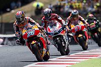 Dani Pedrosa of Spain and Repsol Honda Team, Andrea Dovizioso of Italy and Ducati Team, Marc Marquez of Spain and Repsol Honda Team during the race of  MotoGP of Catalunya at Circuit de Catalunya on June 11, 2017 in Montmelo, Spain.(ALTERPHOTOS/Rodrigo Jimenez)