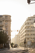 Residential buildings and tramway on Boulevard Mohammed V at sunset, Casablanca, Morocco