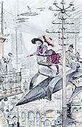 Young lady paying calls by personal airship among a maze of telegraph and telephone wires. Robida's idea of world in 1953. From A Robida 'Le Vingtieme Siecle' Paris 1883.