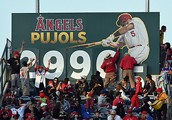 April 29, 2018 - Anaheim, CA, U.S. - ANAHEIM, CA - APRIL 29: A numbers on a sign in centerfield are changed after Los Angeles Angels of Anaheim first baseman Albert Pujols (5) hit a single for carrier hit number 2996 in the sixth inning off a game against the New York Yankees played on April 29, 2018 at Angel Stadium of Anaheim in Anaheim, CA. (Photo by John Cordes/Icon Sportswire) (Credit Image: © John Cordes/Icon SMI via ZUMA Press)