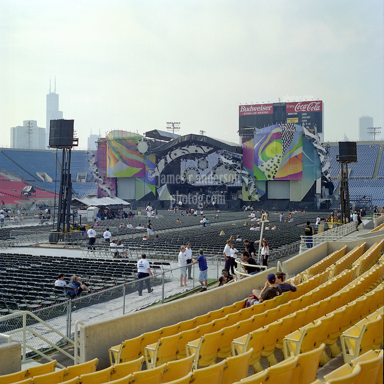 The Stage and Set before the Grateful Dead Concert at Soldier Field Chicago IL. The last show ever performed by the band, July 9, 1995. Shot on 120 medium format film with Hasselblad.