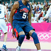 06 August 2012: USA Kevin Durant reacts after dunking the ball during 126-97 Team USA victory over Team Argentina, during the men's basketball preliminary, at the Basketball Arena, in London, Great Britain.