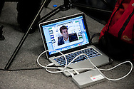 a view on a laptop as Swansea City Manager Michael Laudrup speaks at the Barclays Premier league pre match press conference at the Liberty Stadium in Swansea pic by Phil Rees/ Andrew Orchard sports photography.
