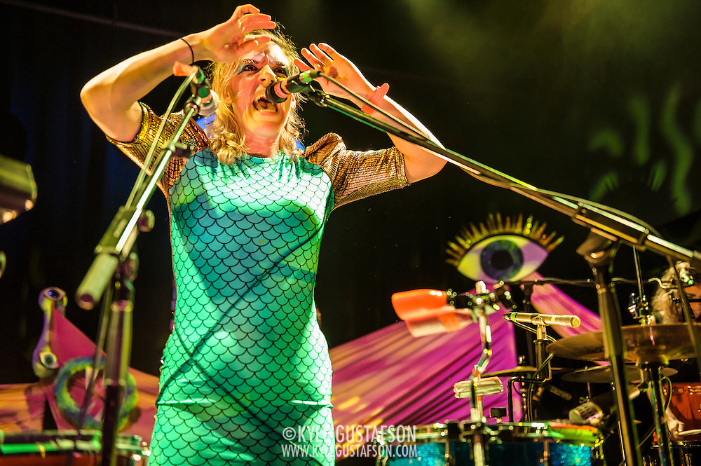 WASHINGTON, D.C. - June 13th, 2014 - Merrill Garbus of Tune-Yards performs at the 9:30 Club in Washington, D.C. The group has received high praise for their third album, Nikki Nack, which was released in May. (Photo by Kyle Gustafson / For The Washington Post)