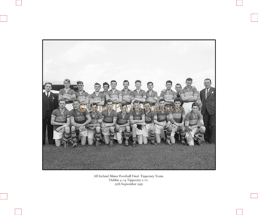 All Ireland Football Final minors Dublin v Tipperary 25th September 1955 .Tipperary Minor football team. All Ireland finalists...25.09.1955. 09.25.1955, 25th September 1955