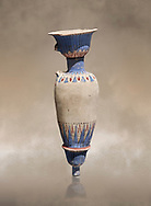 Ancient Egyptian decorated vase , tomb of Kha, Theban Tomb 8 , mid-18th dynasty (1550 to 1292 BC), Turin Egyptian Museum. Cat 8465.<br /> <br /> TT8 or Theban Tomb 8 was the tomb of Kha, the overseer of works from Deir el-Medina in the mid-18th dynasty[2] and his wife, Merit. TT8 was one of the greatest archaeological discoveries of ancient Egypt, one of few tombs of nobility to survive intact. .<br /> <br /> If you prefer to buy from our ALAMY PHOTO LIBRARY  Collection visit : https://www.alamy.com/portfolio/paul-williams-funkystock/ancient-egyptian-art-artefacts.html  . Type -   Turin   - into the LOWER SEARCH WITHIN GALLERY box. Refine search by adding background colour, subject etc<br /> <br /> Visit our ANCIENT WORLD PHOTO COLLECTIONS for more photos to download or buy as wall art prints https://funkystock.photoshelter.com/gallery-collection/Ancient-World-Art-Antiquities-Historic-Sites-Pictures-Images-of/C00006u26yqSkDOM