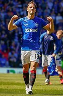 Nikola Katic of Rangers FC punches the air as he celebrates with the fans during the Ladbrokes Scottish Premiership match between Rangers and Celtic at Ibrox, Glasgow, Scotland on 12 May 2019.
