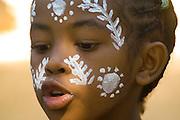Madagascar, Nosy Komba Island Child with painted face