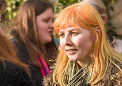 Protesters in Edinburgh, men as well as women, joined the Edinburgh Women's March protests that are taking place across the world to protest for women's rights and against the new US President Donald Trump. Protesters gathered outside the US Consulate and listened to various speakers earlier this afternoon in a peaceful and well mannered protest. Pictured Event organiser 16 year old Leah Higgins. <br /> <br /> <br /> © Jon Davey/ EEm