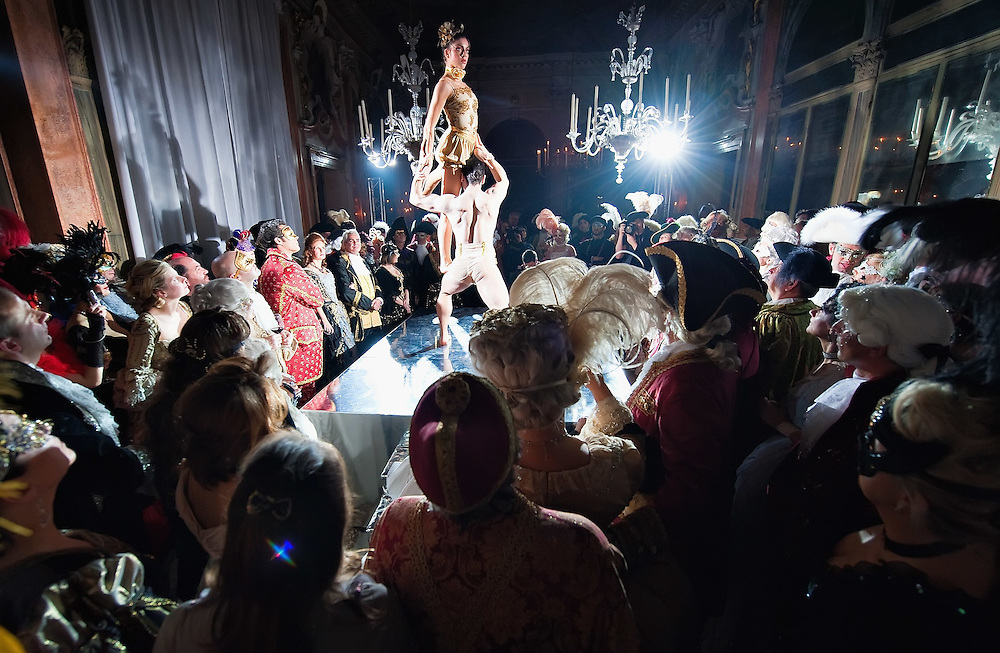 VENICE, ITALY - MARCH 05:  A general view of guests at Palazzo Pisani Moretta watching a performance during the Ballo del Doge on March 5, 2011 in Venice, Italy. The Ballo del Doge, created by fashion and costume designer Antonia Sautter, is considered the most elegant and exclusive masquerade ball during the Venice Carnival.