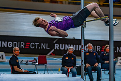 Rik Taam in action on high jump during the all-around at the Dutch Athletics Championships on 13 February 2021 in Apeldoorn