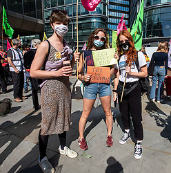 © Licensed to London News Pictures. 01/09/2020. London, UK. Members of Extinction Rebellion (XR) environmental campaign group gather in Victoria in Westminster before they march to Parliament Square in central London ahead of their planned blockade of Parliament. XR plan to peacefully disrupt the UK Parliament with actions planned over two weeks, until MP's back the Climate Ecological Emergency Bill and prepare for crisis with a National Citizens's Assembly. Photo credit: Alex Lentati/LNP
