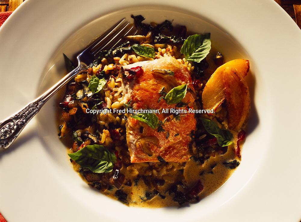 Salmon curry prepared by Kirsten Dixon in the kitchen of Winterlake Lodge, Finger Lake, Alaska.