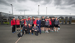 Edinburgh Airport's chief exec Gordon Dewar with the Edinburgh rugby team before they fly to Cork out to play Munster.