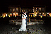 The Bride & Groom in front of the fountain at Colwick Hall Hotel.