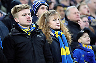 AFC Wimbledon fans watching on during the The FA Cup 3rd round match between Tottenham Hotspur and AFC Wimbledon at Wembley Stadium, London, England on 7 January 2018. Photo by Matthew Redman.