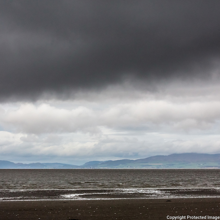 Scotland viewed across the Solway Firth from Allonby Bay, Cumbria.