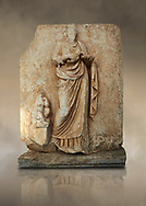 Roman Sebasteion relief  sculpture of Hygieia, Aphrodisias Museum, Aphrodisias, Turkey.  Against an art background.<br /> <br /> Hygieia, the goddess of Health, hold a flat bowl (phiale) from which she feeds a snake. The snake is wound twice around her forearm. A plump naked child sits on a square pedestal. Hygieia was the daughter of the healing god Asklepios, with whom she is paired here .<br /> <br /> If you prefer to buy from our ALAMY STOCK LIBRARY page at https://www.alamy.com/portfolio/paul-williams-funkystock/greco-roman-sculptures.html . Type -    Aphrodisias     - into LOWER SEARCH WITHIN GALLERY box - Refine search by adding a subject, place, background colour, museum etc.<br /> <br /> Visit our ROMAN WORLD PHOTO COLLECTIONS for more photos to download or buy as wall art prints https://funkystock.photoshelter.com/gallery-collection/The-Romans-Art-Artefacts-Antiquities-Historic-Sites-Pictures-Images/C0000r2uLJJo9_s0