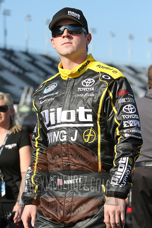 Nationwide driver Michael Annett at Daytona International Speedway on February 18, 2011 in Daytona Beach, Florida. (AP Photo/Alex Menendez)