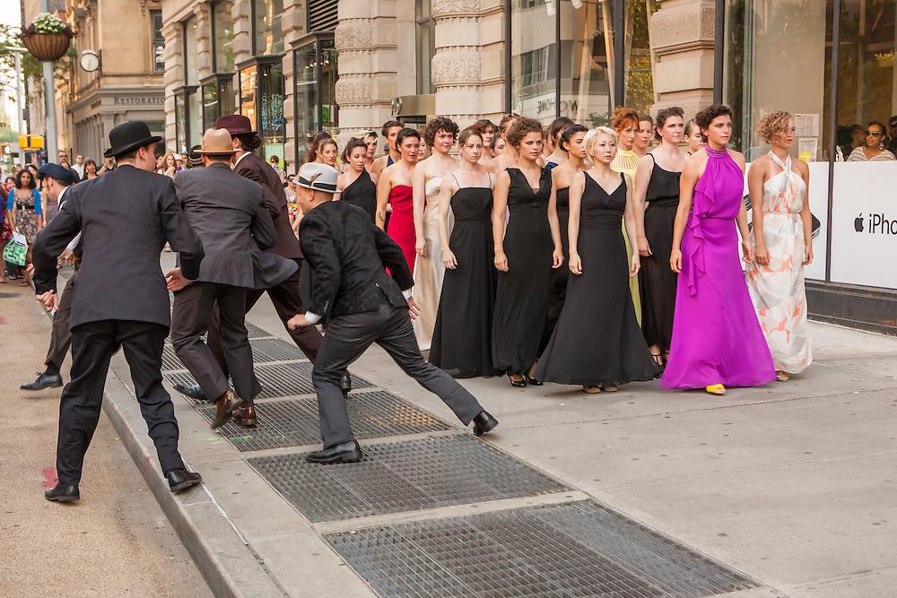 As the women walk away, the men flee the scene.