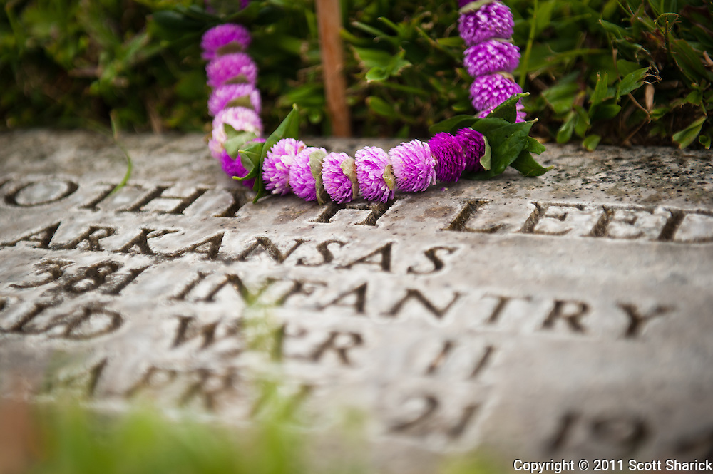 One of thousands of lei placed at the gravesites at Punchbowl Cemetery in Honolulu, Hawaii. Images taken at the National Cemetery of the Pacific in preparation for Memorial Day 2011.