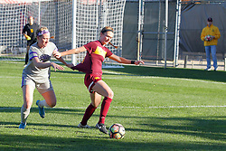 04 November 2016:  Emily Rickett grabs the uniform of Ciara Murray during an NCAA Missouri Valley Conference (MVC) Championship series women's semi-final soccer game between the Loyola Ramblers and the Evansville Purple Aces on Adelaide Street Field in Normal IL