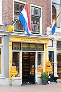 Shop front frontage of cheese shop 't Kaaswinkeltje in Lange Tiendeweg in Gouda, Holland, The Netherlands