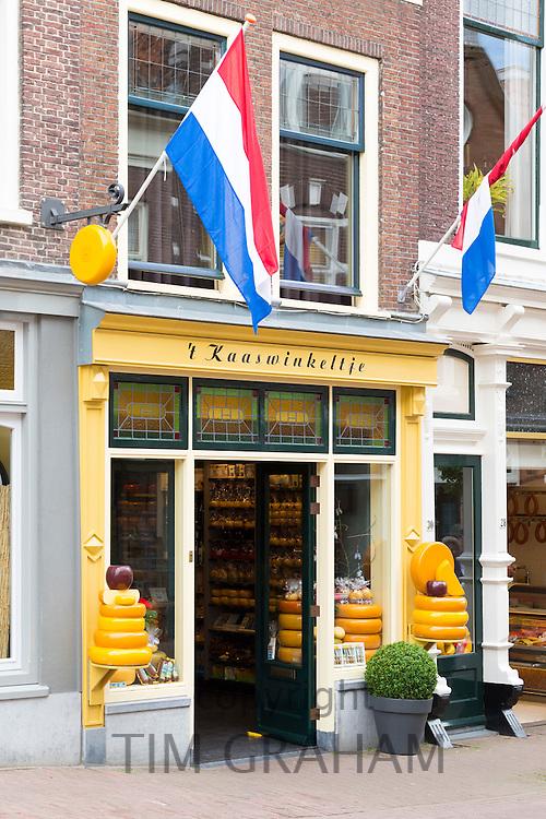 Shop front frontage of cheese shop 't Kaaswinkeltje in Lange Tiendeweg in Gouda, Holland, The Netherlands
