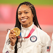 TOKYO, JAPAN August 7:  Allyson Felix of the United States with her gold medal after the team won the 4x 400m relay final. Allyson Felix is now the most decorated U.S. track athlete in Olympic history. She won her 11th medal just one day after becoming the most-decorated woman in Olympic track history when she won bronze in the 400m during the Track and Field competition at the Olympic Stadium  at the Tokyo 2020 Summer Olympic Games on August 7th, 2021 in Tokyo, Japan. (Photo by Tim Clayton/Corbis via Getty Images)