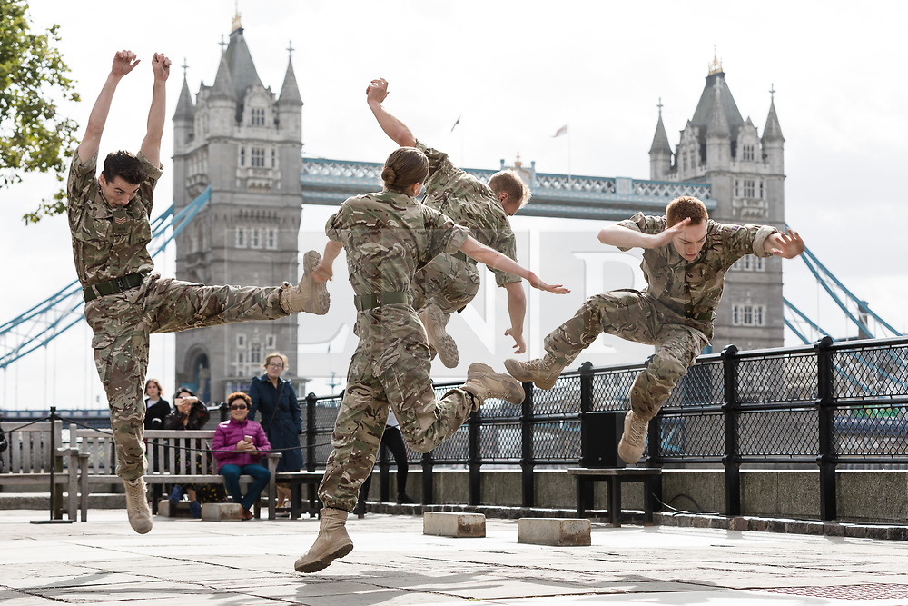 © Licensed to London News Pictures. 07/09/2017. LONDON, UK.  The British Army in conjunction with the Rosie Kay Dance Company perform an extract of 5 SOLDIERS: The Body is the Frontline, at Tower Wharf in the Tower of London to celebrate the work's return to London.  Photo credit: Vickie Flores/LNP