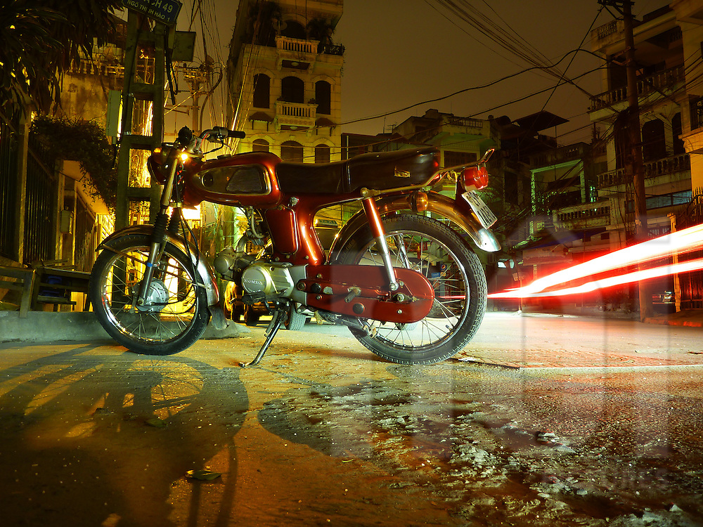 Honda 67 at night in Dong Da district, Hanoi, Vietnam