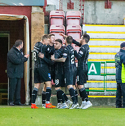 Dunfermline's Kevin Nisbet cele scoring their first penalty. Dunfermline 5 v 1 Partick Thistle, Scottish Championship game played 30/11/2019 at Dunfermline's home ground, East End Park.