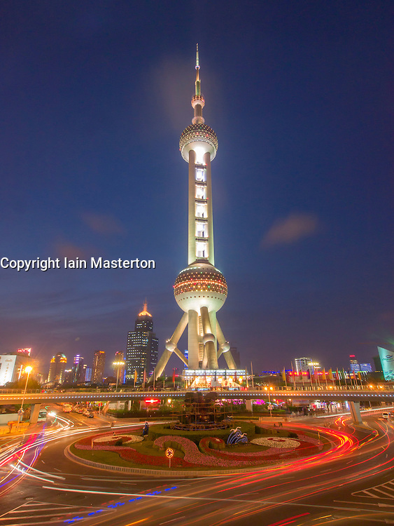 Night view of Peral Oriental Tower in Lujiazui district of Pudong China