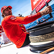 Leg 9, from Newport to Cardiff, day 03 on board MAPFRE, Guillermo Altadill trimming. 22 May, 2018.