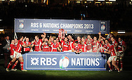 The Welsh players celebrate as they win the championship. RBS Six nations championship 2013, Wales v England at the Millennium stadium in Cardiff , South Wales on Saturday 16th March 2013. pic by Andrew Orchard, Andrew Orchard sports photography,